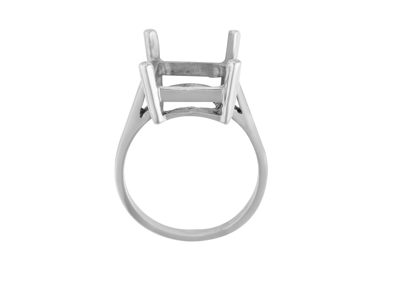 Bague serti 4 griffes pour pierre rectangle 16 x 12 mm, Or gris 800. Réf. 15382