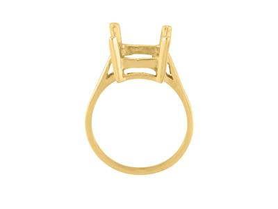 Bague serti 4 griffes pour pierre rectangle de 14 x 10 mm, Or jaune 18k. Réf. 15380