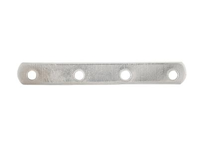 Intercalaire barrette 4 trous 18 mm, Or gris 18k, n 4