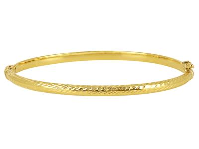 Bracelet Jonc tube carré ciselé 4 mm, 55 x 65 mm, Or jaune 18k