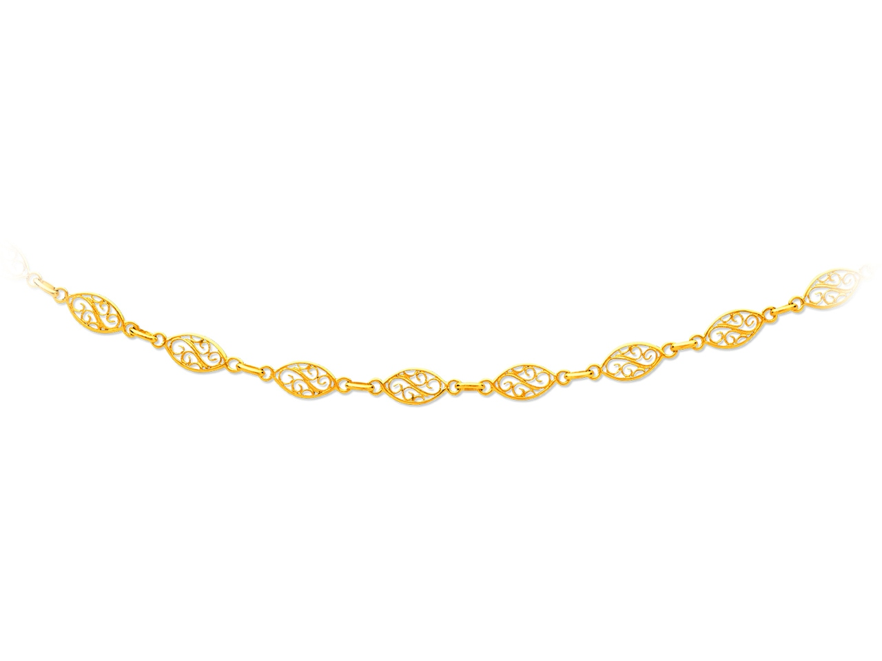 Collier maille filigrane, Or jaune 18k, 6,8 mm, 50 cm