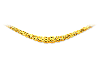 Collier maille Royale plate en chute 13,3 mm, 45 cm, Or jaune 18k