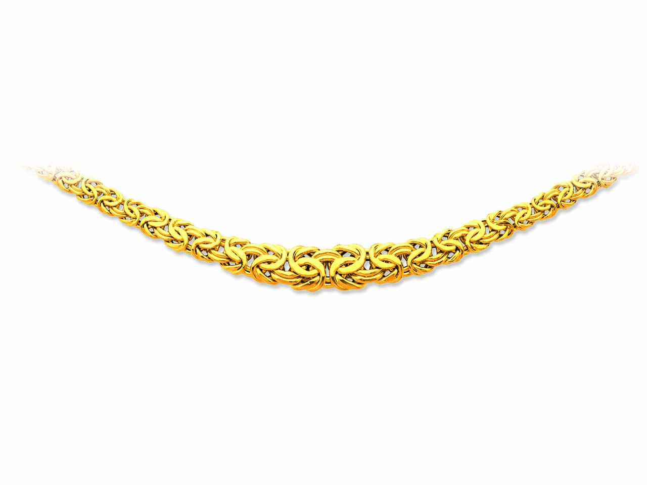 Collier maille royale plate chute, Or jaune 18k, 13,3 mm, 45 cm