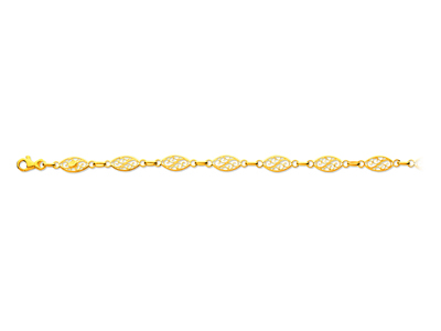 Bracelet maille filigrane Or jaune 18k 6 mm 19 cm