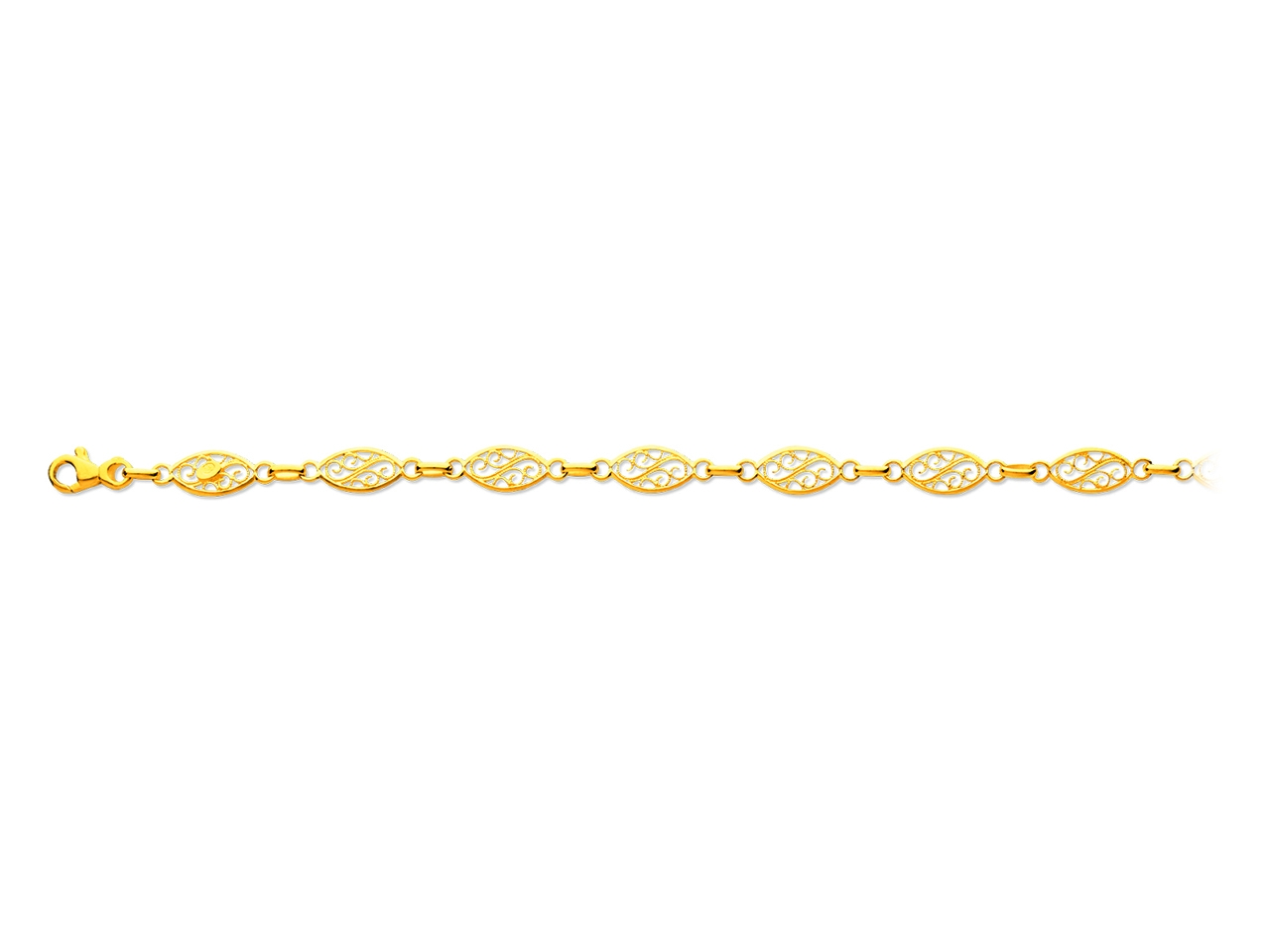 Bracelet maille filigrane, Or jaune 18k, 6 mm, 19 cm