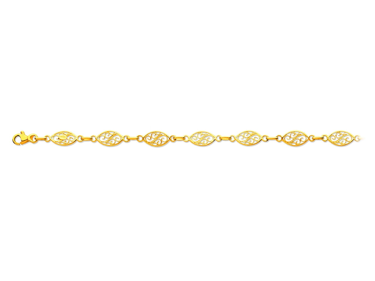 Bracelet maille filigrane, Or jaune 18k, 6,8 mm, 19 cm