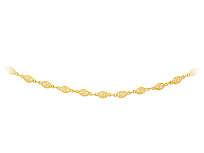 Collier maille filigrane Or jaune 18k 52 mm 50 cm