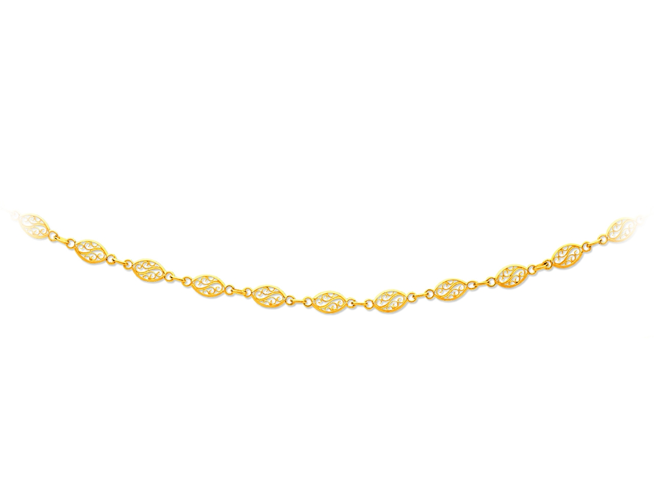 Collier maille filigrane, Or jaune 18k, 5,2 mm, 50 cm