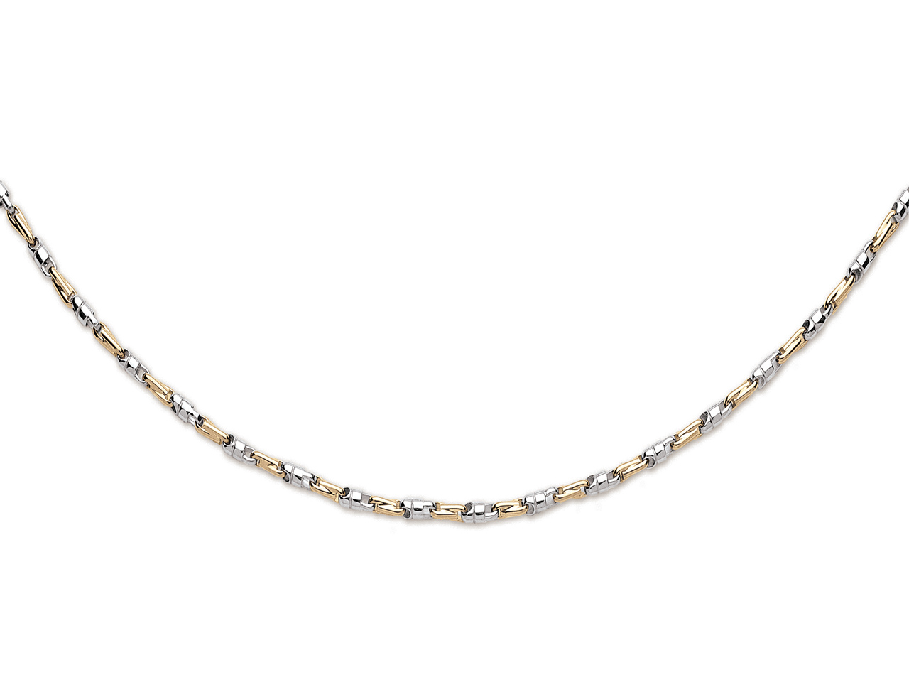 Collier rantaisie massif 3,5 mm, or bicolore 18k, 50 cm