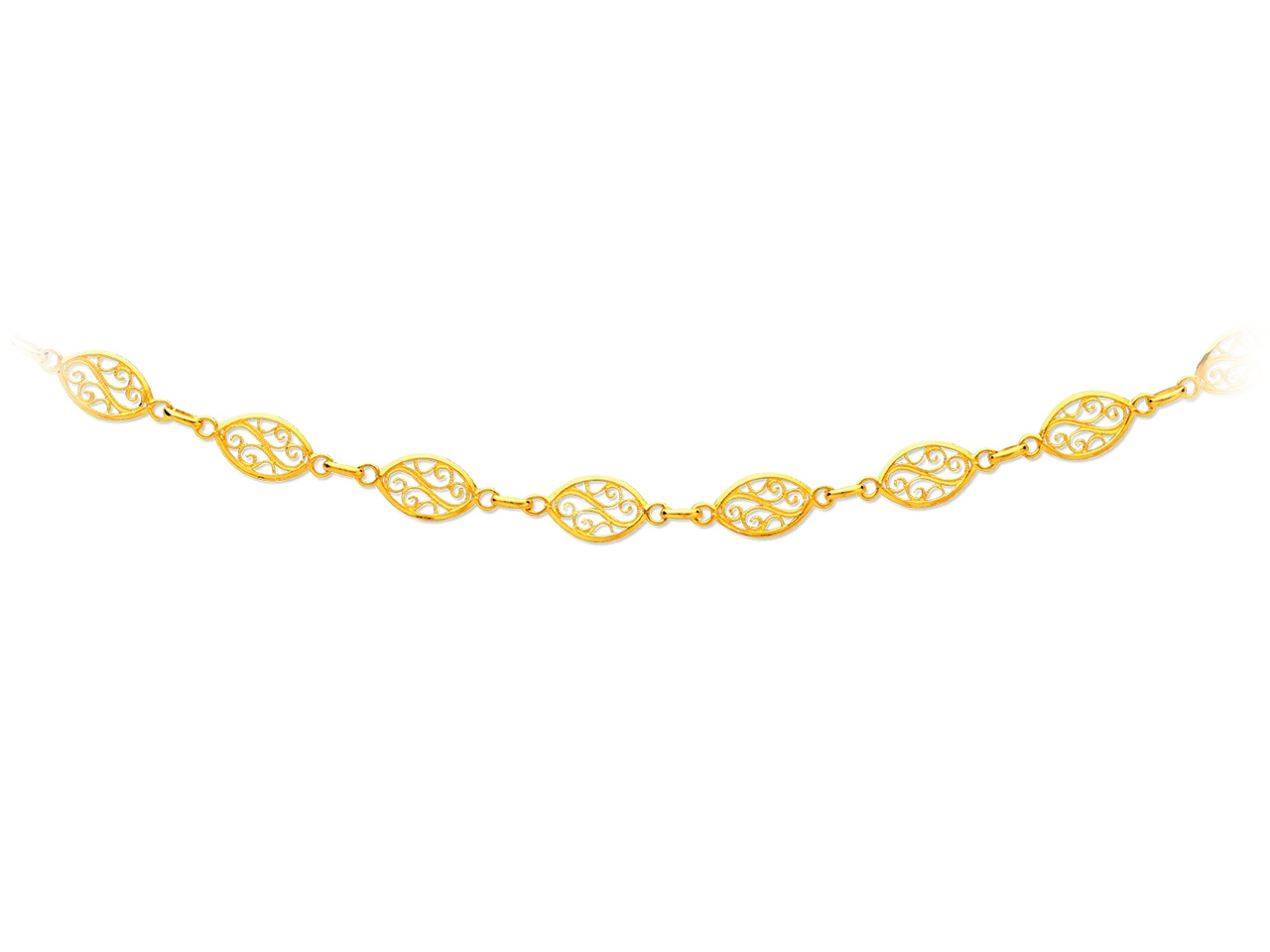 Collier maille filigrane, Or jaune 18k, 8 mm, 65 cm