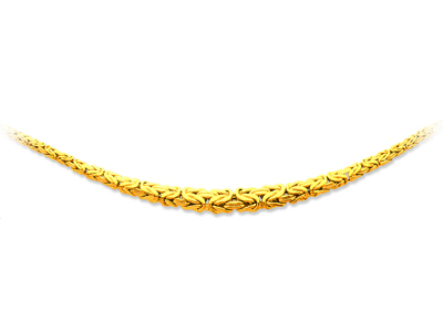 Collier maille royale plate chute Or jaune 18k 10 mm 45 cm