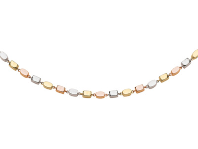 Collier Volumes rectangles, 6,7 mm, 42 cm, 3 Ors 18k