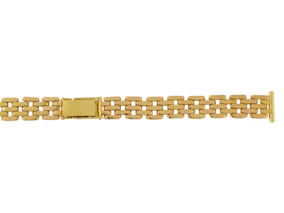 Bracelet montre grain de riz 12 mm Or jaune 18k. Rf. 9044