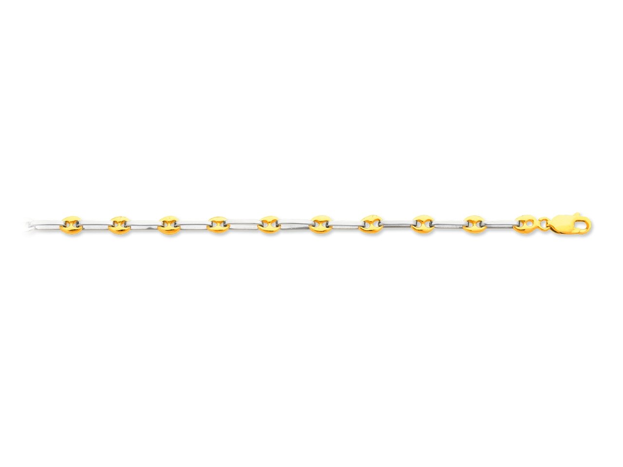 Bracelet forçat alternée carré grain de café, Or 18k bicolore, 4,6 mm, 18 cm