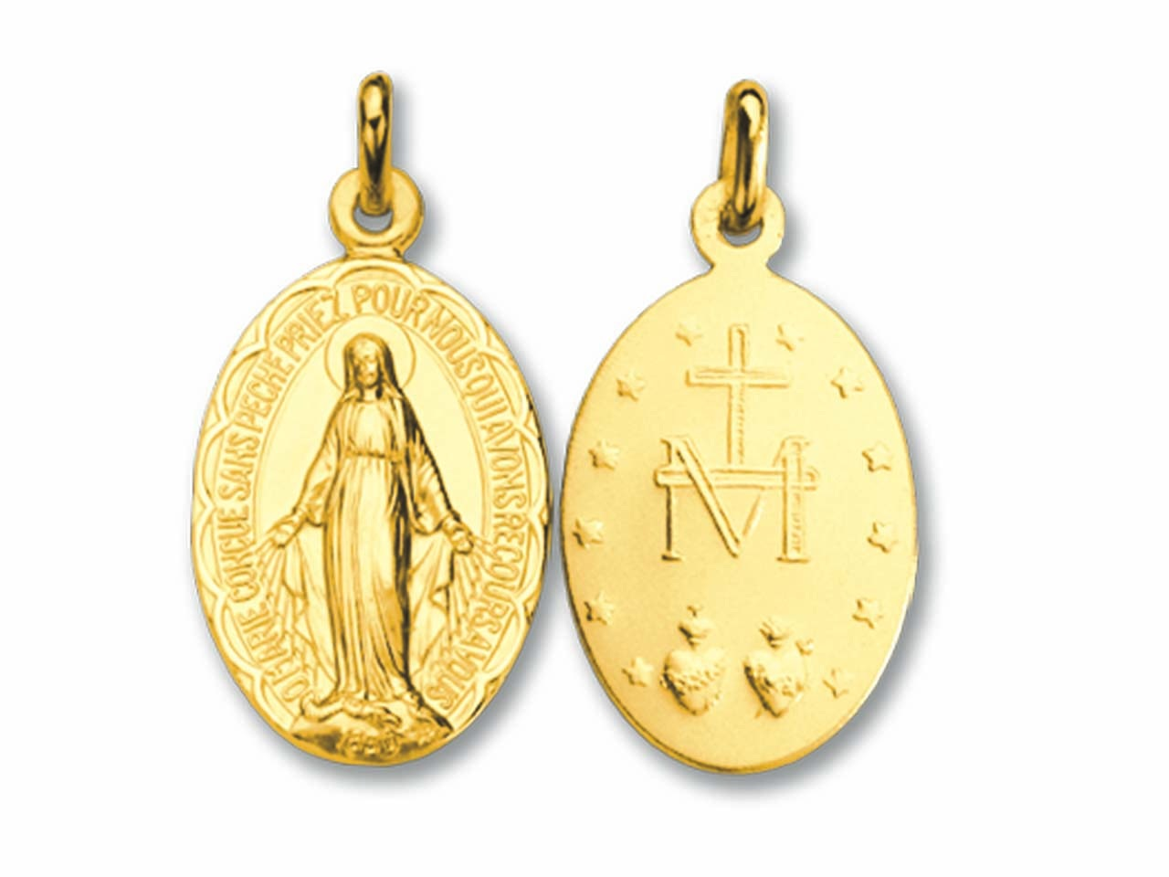 Médaille Vierge miraculeuse, Or jaune 18k