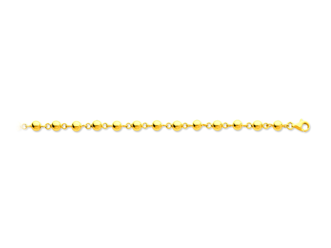 Collier boules marseillais, Or jaune 18k, 5 mm, 45 cm