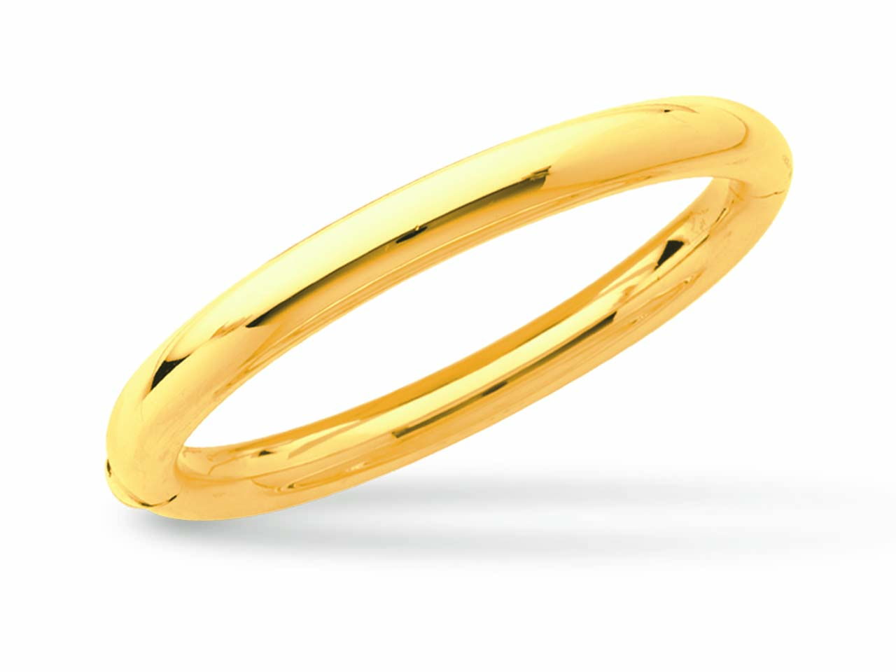 Jonc ouvrant, Or jaune 18k, fil rond 7 mm, forme Ovale. Diam 63 mm