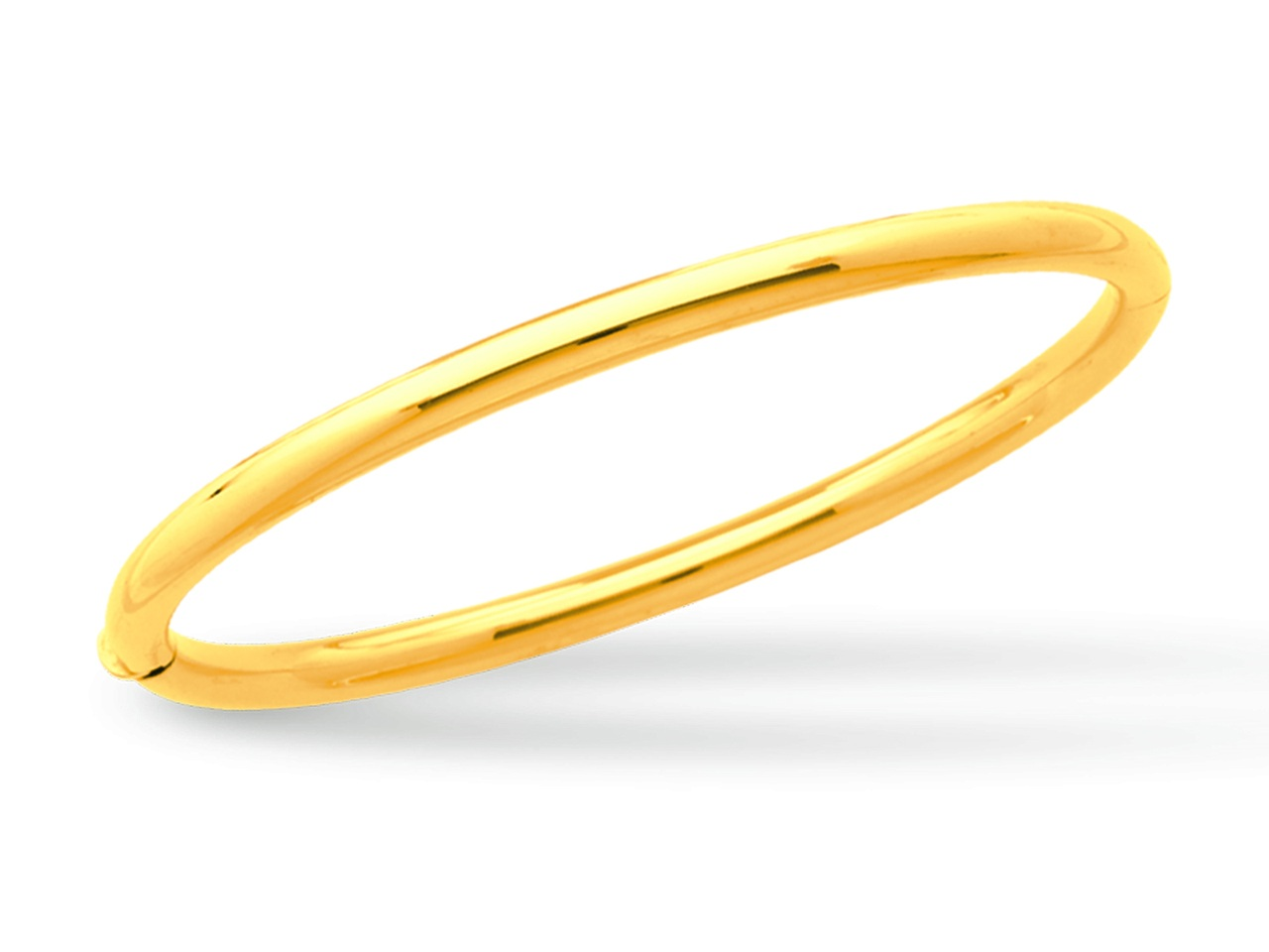 Jonc ouvrant, Or jaune 18k, fil rond 4 mm, forme Ovale. Diam 63 mm