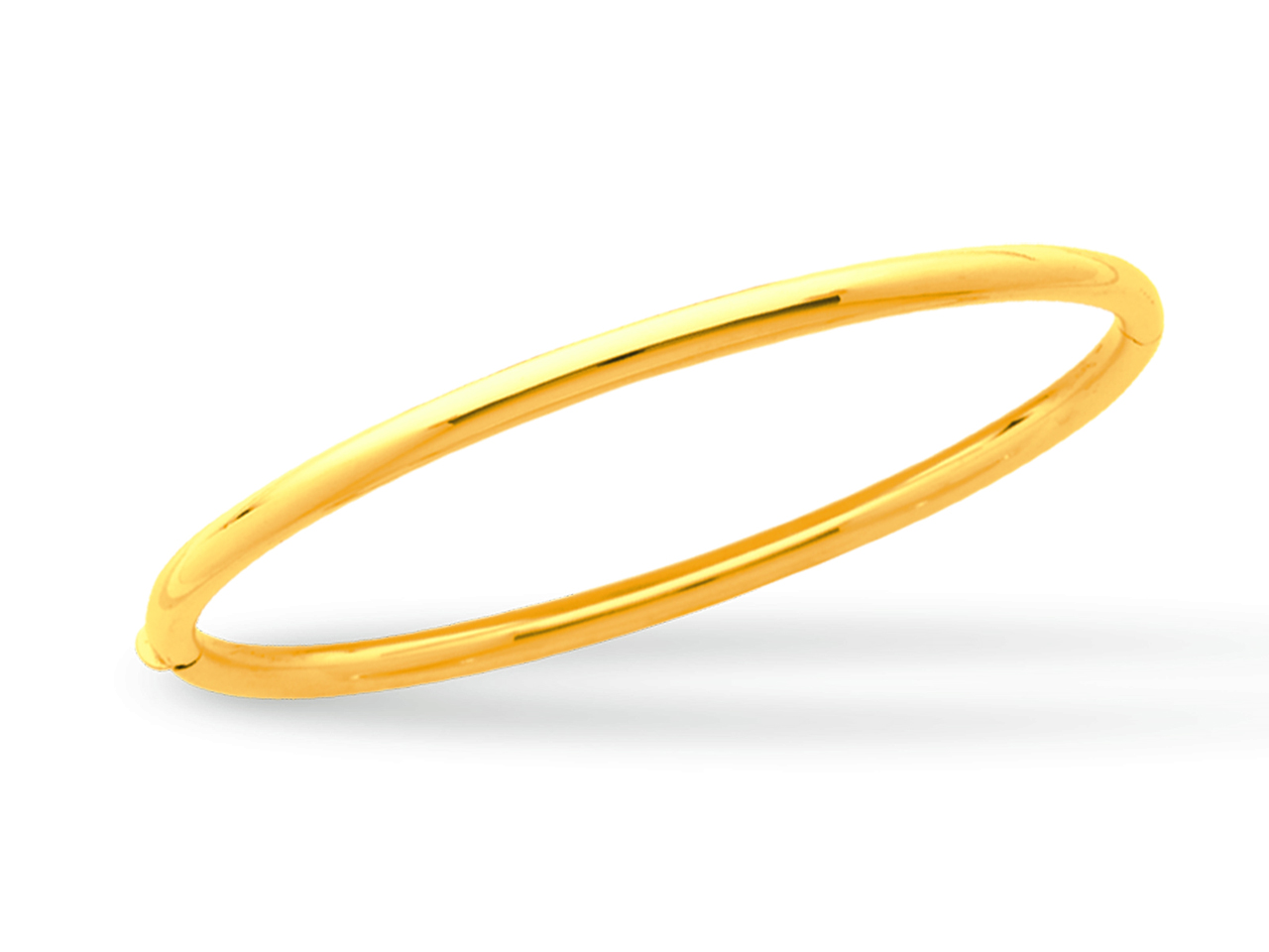 Jonc ouvrant, Or jaune 18k, fil rond 3 mm, forme Ovale. Diam 63 mm