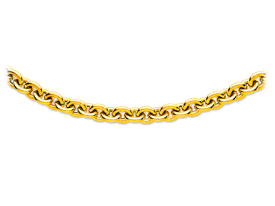 Collier forat ronde creux grand modle Or jaune 18k 13 mm 445 cm