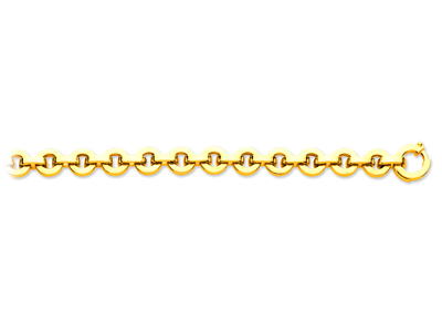 Bracelet maille ronde avec intercalaires boues Or jaune 18k 95 mm 20 cm