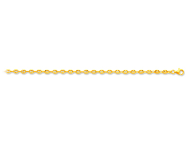 Bracelet maille Grains de café creuse, 3,3 mm, 18 cm, Or jaune 18k
