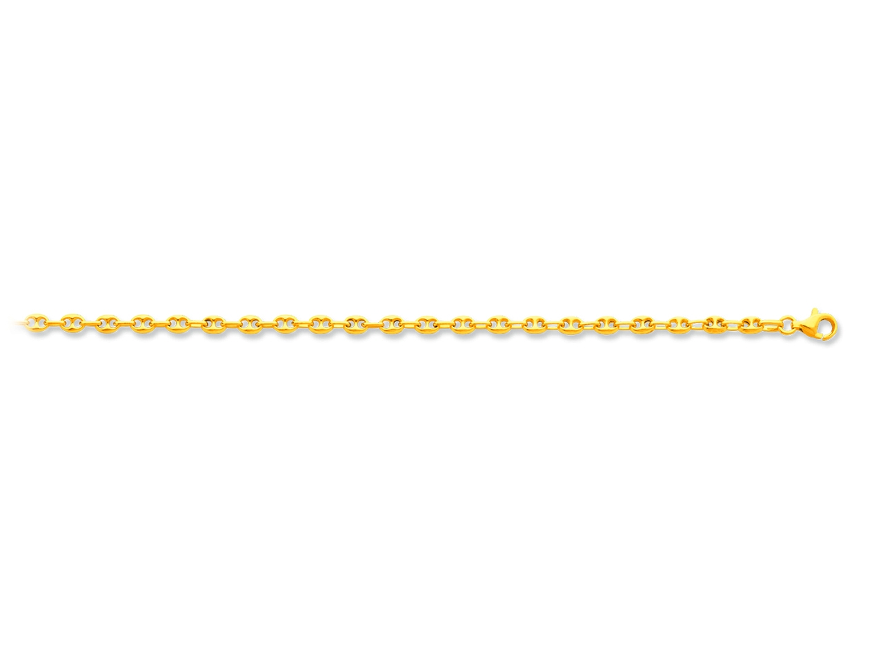 Collier maille grains de cafés creux, Or jaune 18k, 3,3 mm, 50 cm