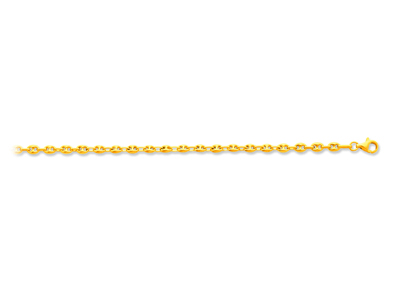 Bracelet maille Grains de café creuse 37 mm 18 cm Or jaune 18k