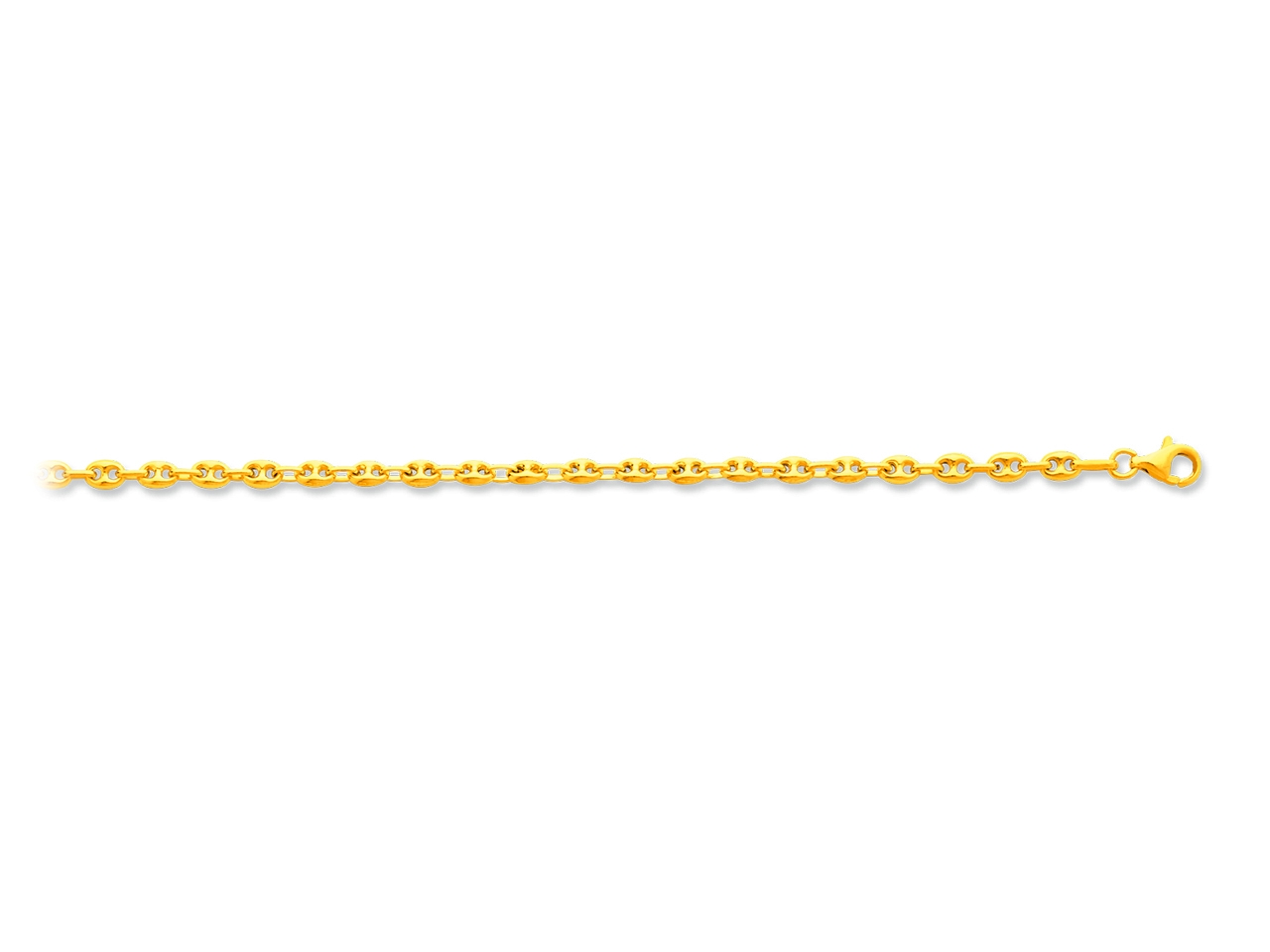 Collier maille grains de cafés creux, Or jaune 18k, 3,7 mm, 50 cm