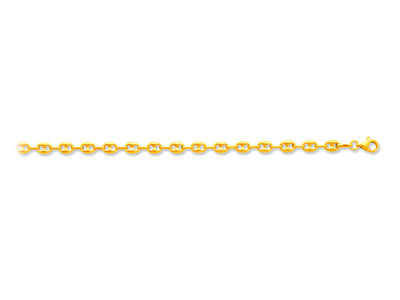 Bracelet maille Grains de café creuse 47 mm 19 cm Or jaune 18k