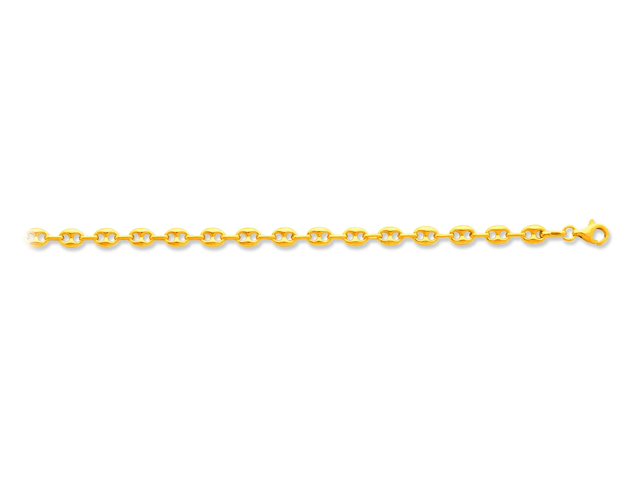 Collier maille grains de café creux, Or jaune 18k, 4,7 mm, 50 cm