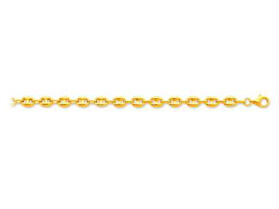 Bracelet maille Grains de café creuse 6 mm 19 cm Or jaune 18k