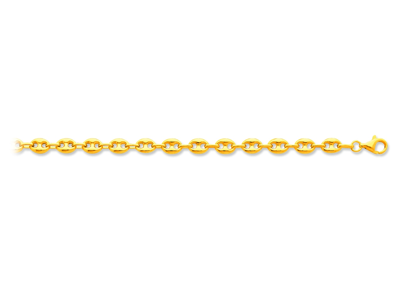 Collier maille grains de cafés creux, Or jaune 18k, 6 mm, 50 cm