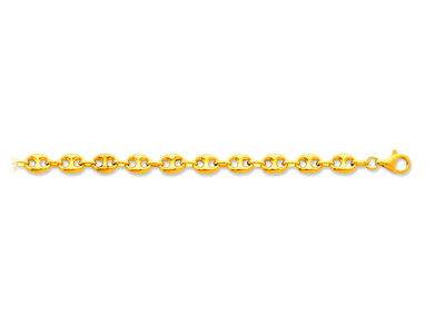 Bracelet maille grains de cafs creux Or jaune 18k 73 mm 19 cm