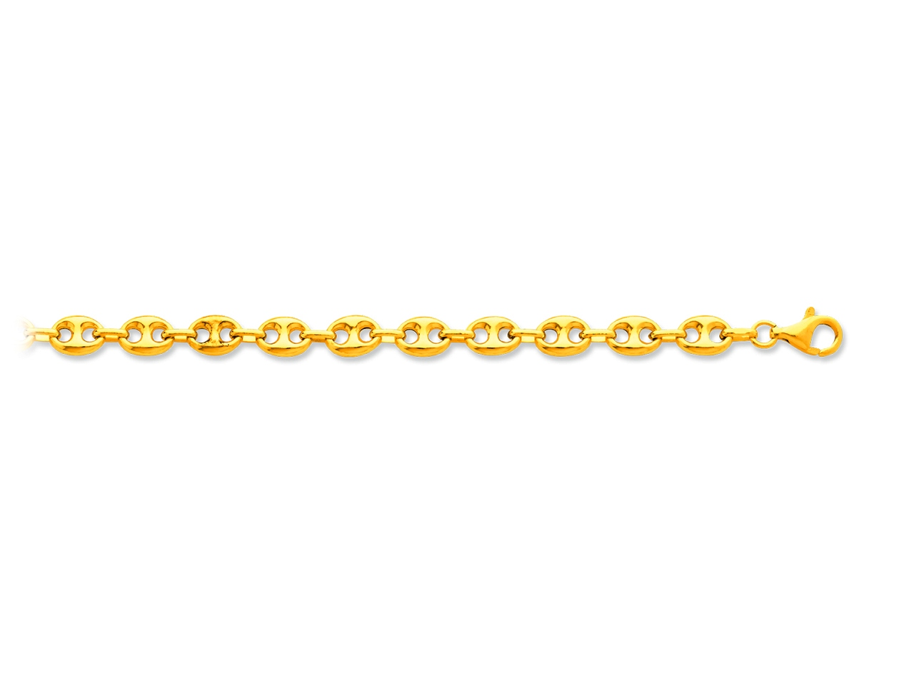 Collier maille grains de cafés creux, Or jaune 18k, 7,3 mm, 60 cm