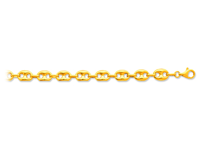 Bracelet maille Grains de café creuse 9 mm, 21 cm, Or jaune 18k