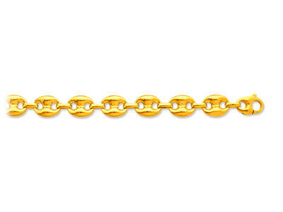 Bracelet maille Grains de café creuse 123 mm 22 cm Or jaune 18k
