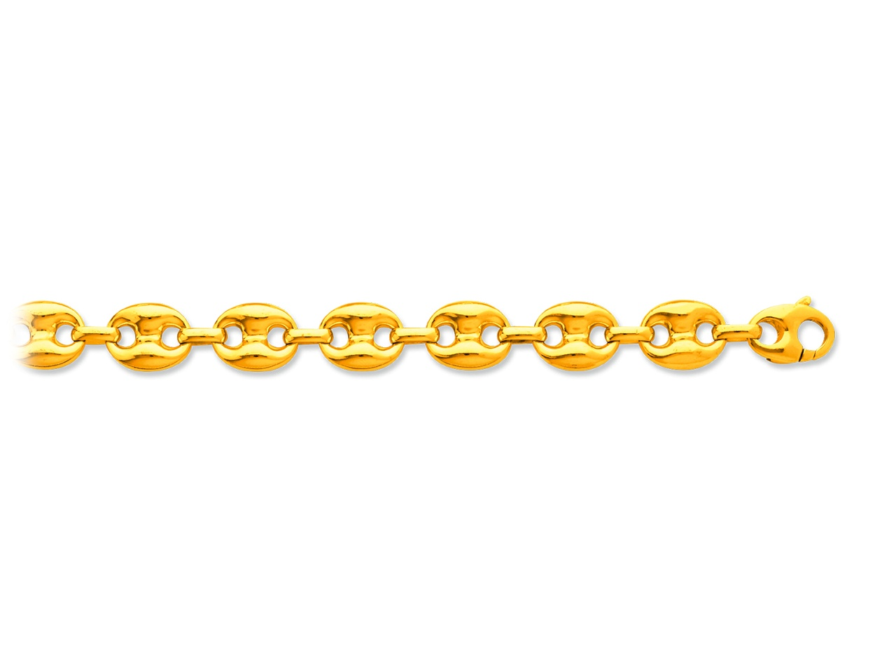 Collier maille grains de cafés creux, Or jaune 18k, 12,3 mm, 60 cm