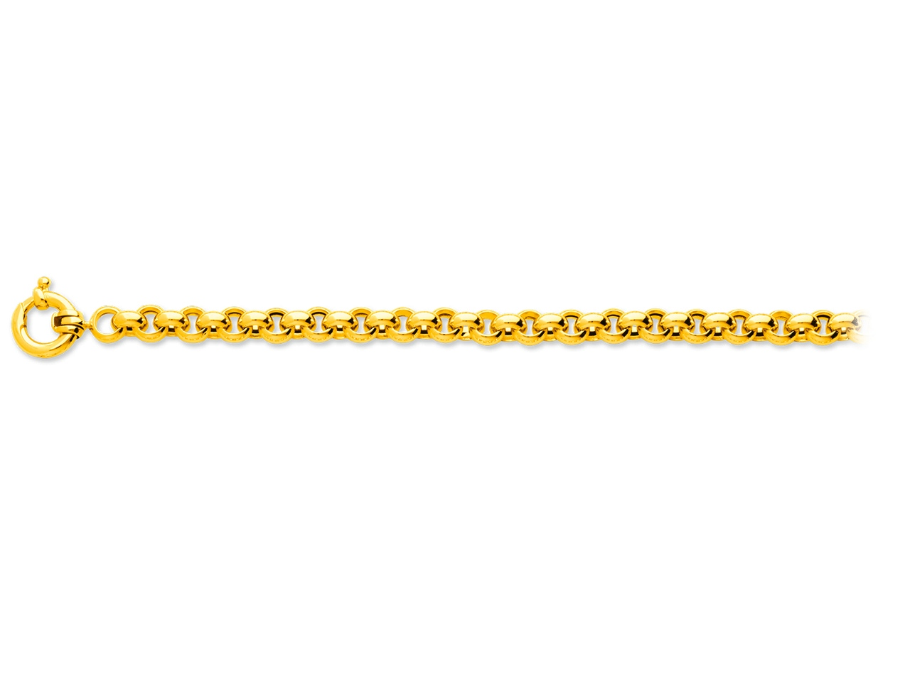 Collier maille Jaseron 7,3 mm, 50 cm, Or jaune 18k