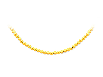 Collier boules parisien Or jaune 18k 5 mm 43 cm