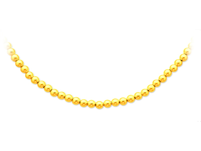 Collier boules parisien Or jaune 18k 6 mm 45 cm