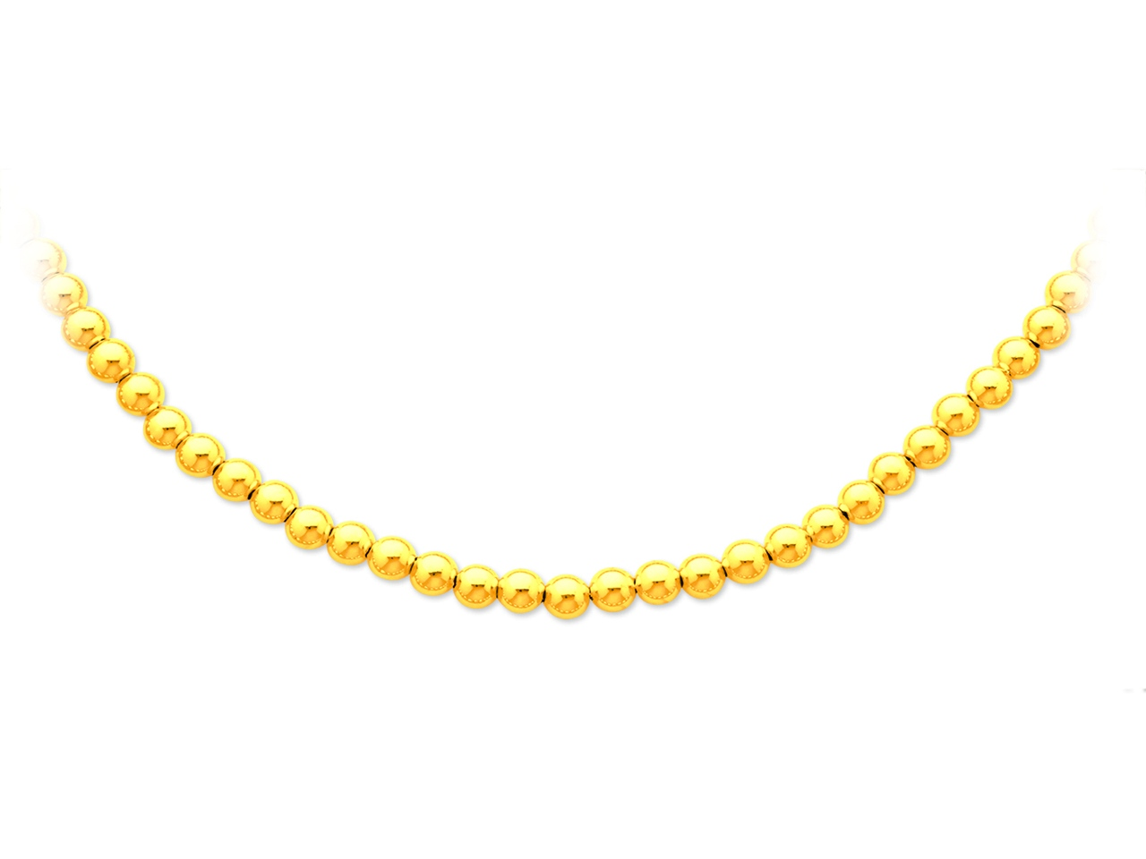 Collier boules parisien, Or jaune 18k, 6 mm, 45 cm