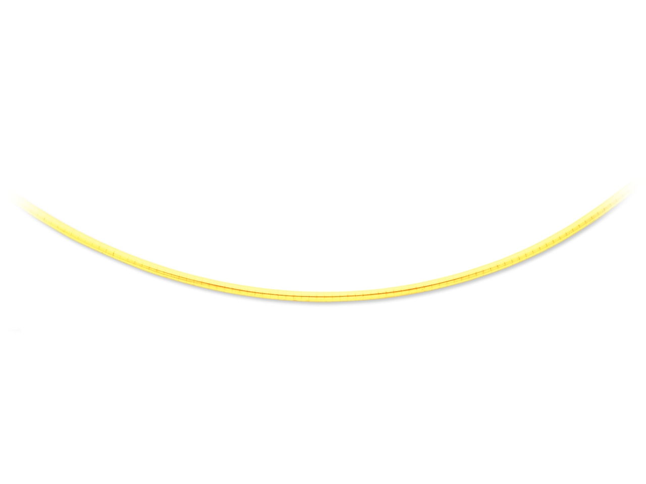 Collier oméga bombé, Or jaune 18k, 2 mm, 42 cm