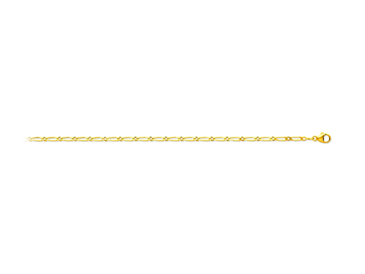 Collier maille alternée 1/1, Or jaune 18k, 2 mm, 50 cm