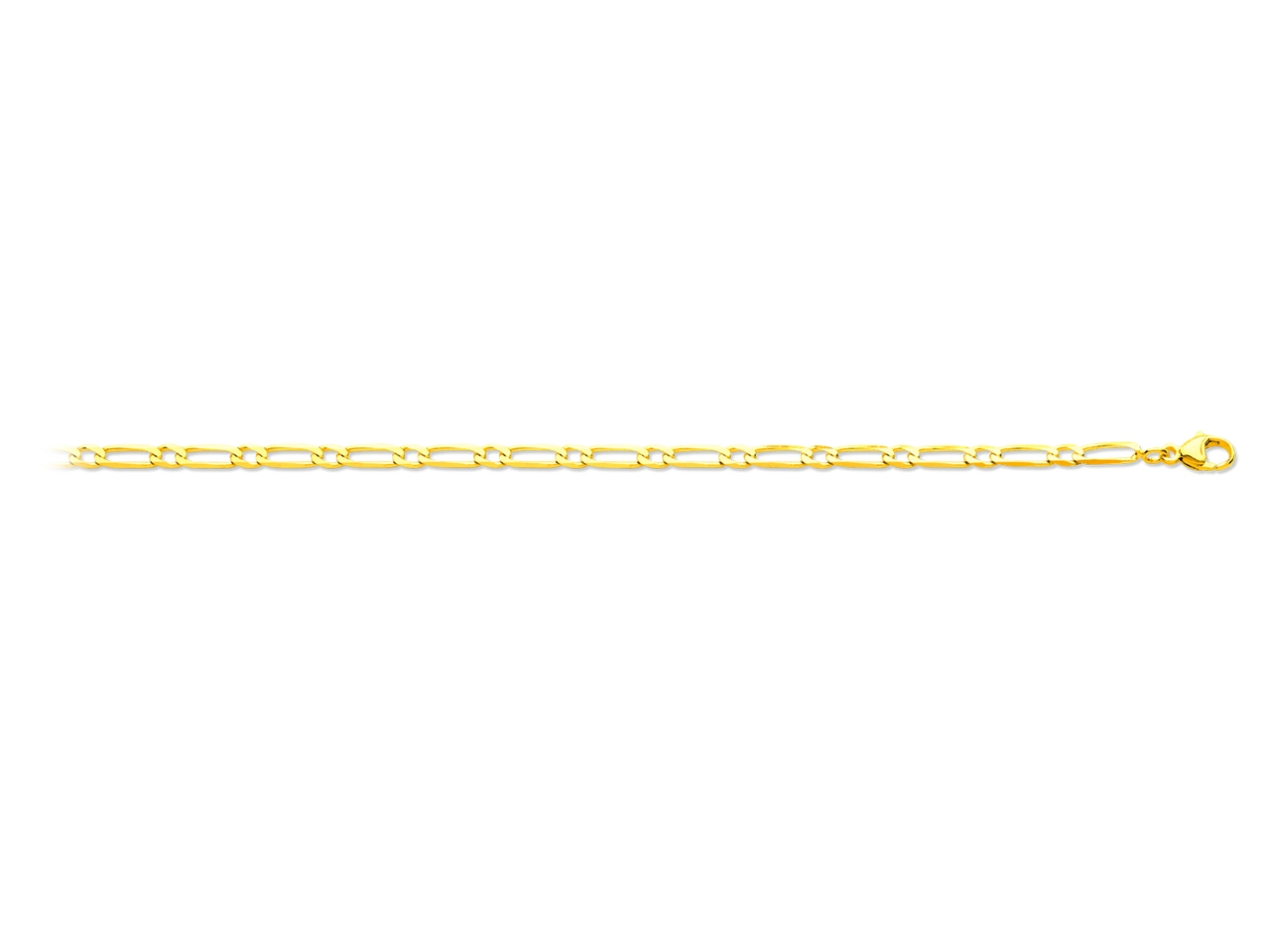 Collier maille alternée 1/1 ultra plate, Or jaune 18k, 3 mm, 55 cm