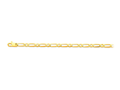 Bracelet maille Alternée 11 ultra plate 4,9 mm, 19 cm, Or jaune 18k
