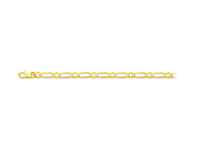 Bracelet maille Alternée 11 ultra plate 6,8 mm, 21 cm, Or jaune 18k