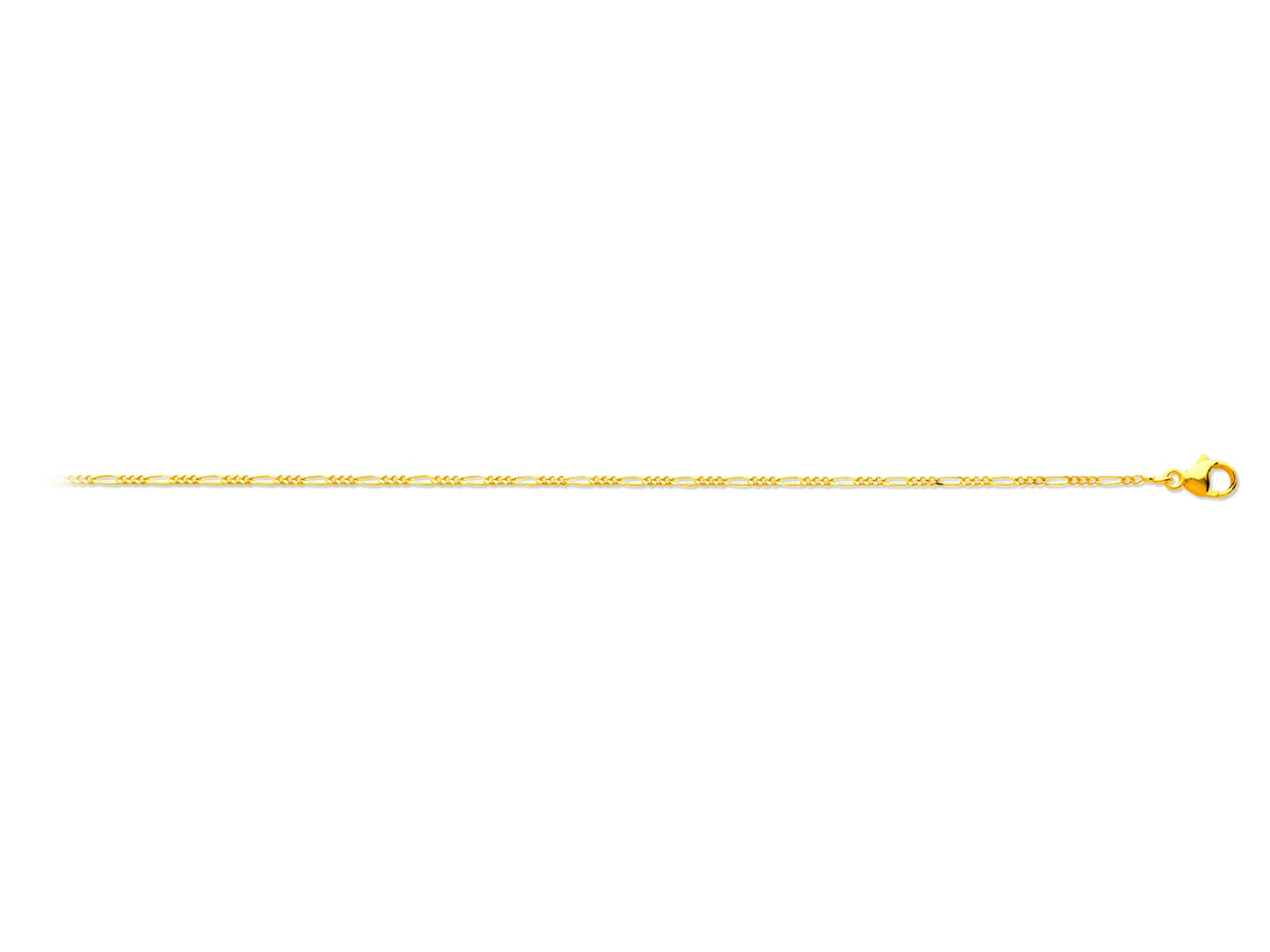 Collier maille alternée 1/3, Or jaune 18k, 1,1 mm, 40 cm