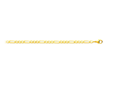 Bracelet maille Alternée 13 ultra plate 4 mm, 18 cm, Or jaune 18k
