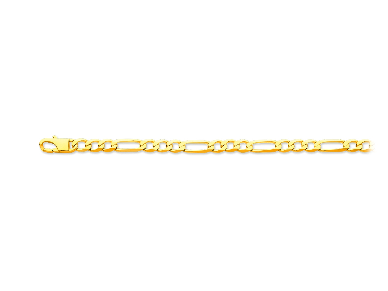 Bracelet maille alternée 1/3 ultra plate, Or jaune 18k, 5,6 mm, 21 cm